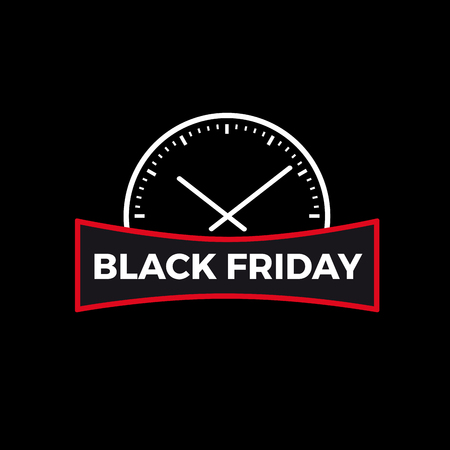 Black Friday text below a speedometer in black background.
