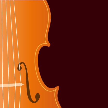 Vector sign music store. Violin on dark background