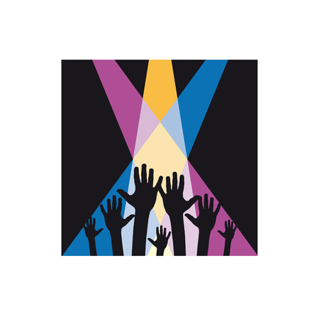 Music party and concert, vector sign in black square Illustration