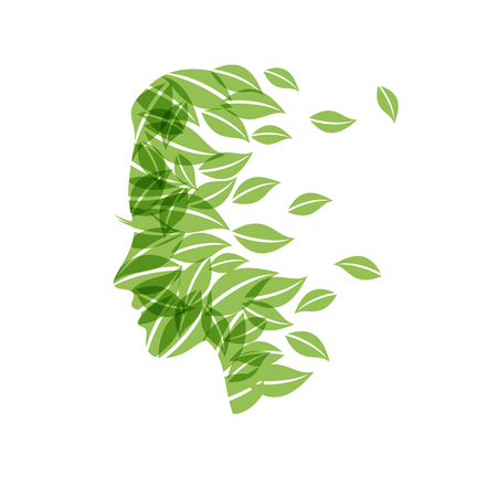 Abstract Vector person ecological, thinking green, vegan concept