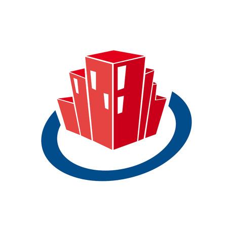 Vector abstrakte Wolkenkratzer im Kreis . Immobilien und Dienstleistungen Konzept