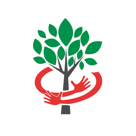 De vector abstracte veilige organische landbouw, omhelst een boom Stock Illustratie
