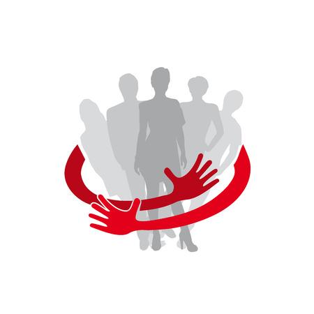 Vector de señal de trabajo en equipo seguro, abrazar a la gente