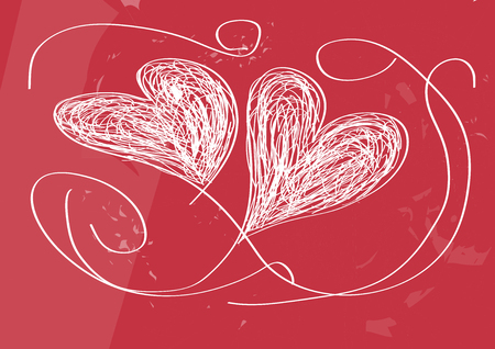 Vector drawing two hearts, handmade design, background scrawled
