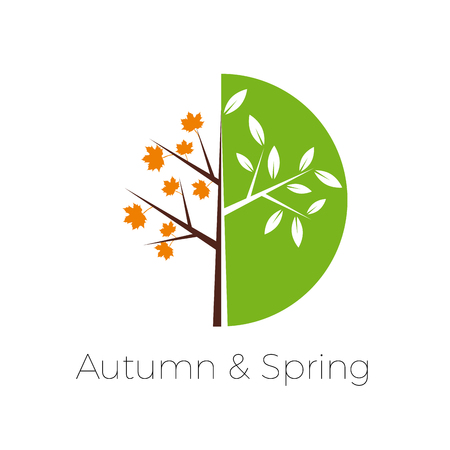 Vector sign cycle of the seasons,  tree in spring and autumn