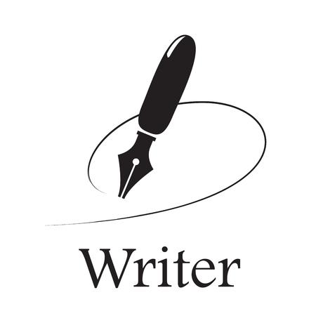 Escritor de sinal vector. Caneta-tinteiro e linha de tinta