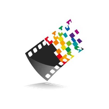 Photographe de signe de vecteur, rouleau de film photographique en analogique et numérique, avec pixels