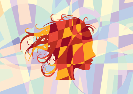 Vector sign beauty hair, girl in the wind. Abstract geometric background and puzzle Illusztráció