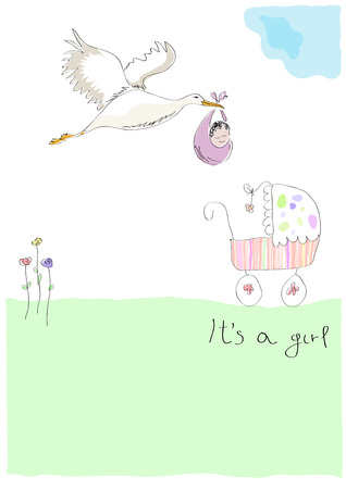 Stork carrying a baby. New birth announcement. It's a girl.  Vector illustration made by a child. 矢量图像