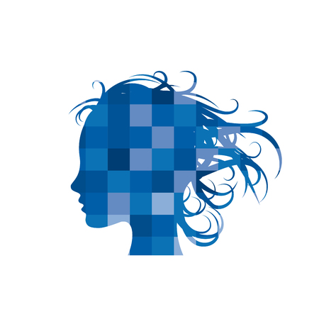 Beauty hair, girl in the wind. Abstract geometric vector sign on pixel in blue
