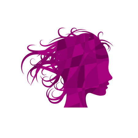 Beauty hair, girl in the wind. Abstract geometric vector sign on puzzle in purple