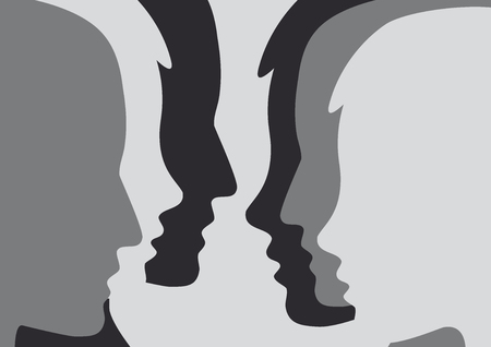 Abstract people in meeting and party. Illustration