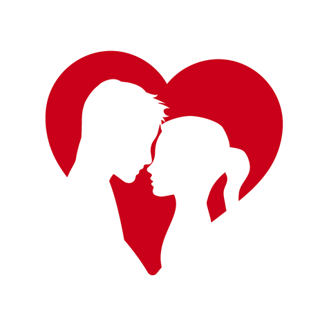 Vector logo lovers. Silhouette of man and woman with heart
