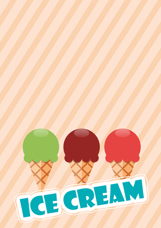 Vector abstract vintage background, ice cream in flat design Illustration