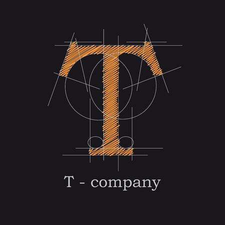 Vector icon design letter T