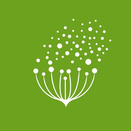 風に飛ぶベクトルアイコンの花の種子  イラスト・ベクター素材