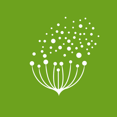 Vector icon flower seeds flying in the wind