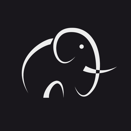 Simple vector abstract elephant on black background