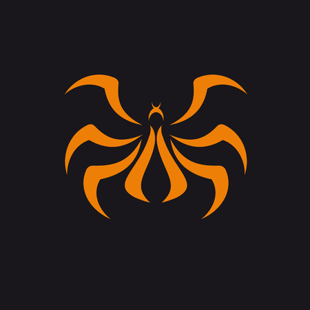 Vector abstract Spider, orange on black