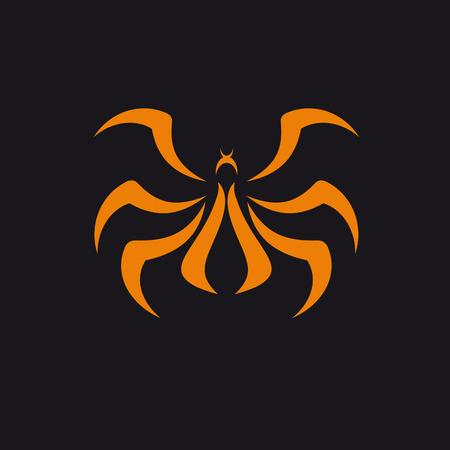 Vector abstracto araña, naranja sobre negro