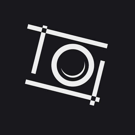 Vector photographer, abstract photographic camera on black background Illustration