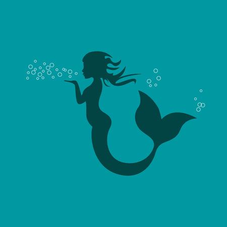 Vector sign mermaid blowing  イラスト・ベクター素材