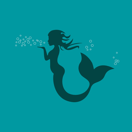 Vector sign mermaid blowing Vectores