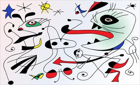 Faux peinture surréaliste numérique. Abstrait géométrique vecteur coloré