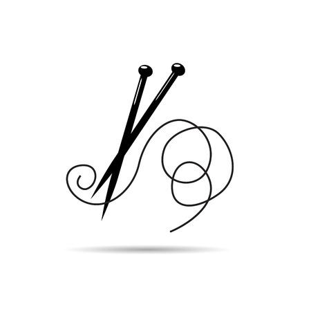 Vector logo ball of yarn, knitting tools. Fashion concept Illustration