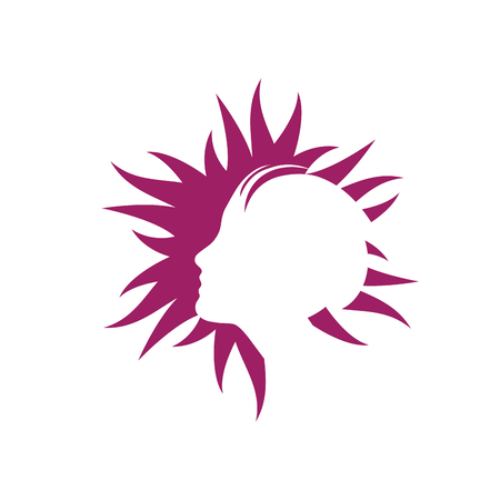 Vector logo abstract beautiful girl in the sun. Beauty and spa concept in purple