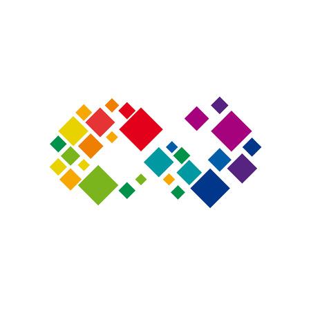 Vektorikone digitales unbegrenztes mit Pixel. Teamwork und Gewerkschaftskonzept