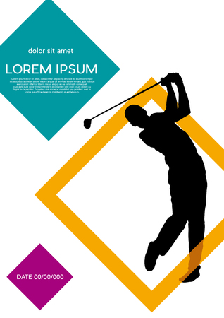 Golf club competition tournament, with squares background. Vertical vector poster with man playing game on green