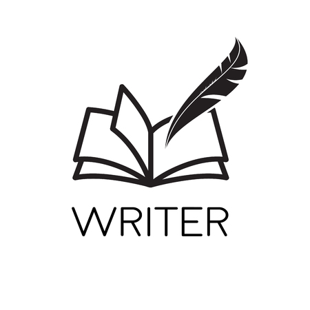 Vector logo writer. Inkwell on book