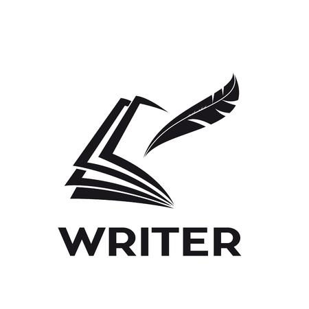 Vector logo writer. Inkwell on book