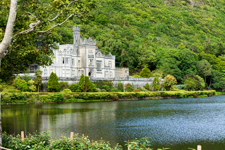 Landscapes of Ireland. Kylemore abbey, Connemara in Galway county
