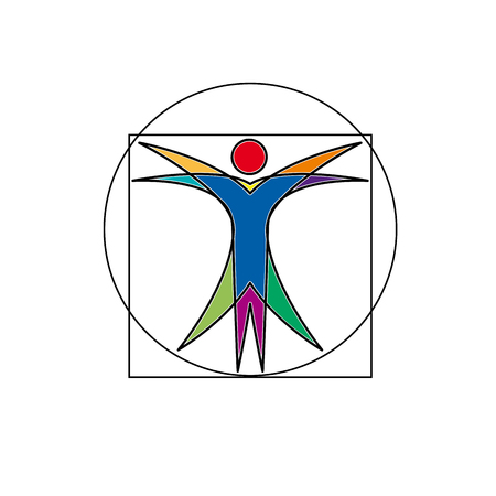 Vector sign abstract vitruvian man, in linear style