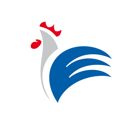 Vector sign abstract rooster, in linear style