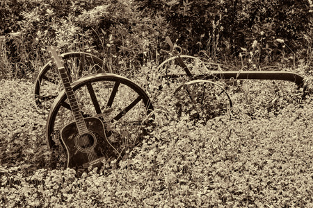 acoustic guitar lying on a meadow and plow, vintage style with copy space
