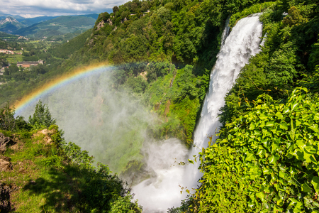 Marmore falls, Cascata delle Marmore, in Umbria, Italy. The tallest man-made waterfall in the world. Standard-Bild