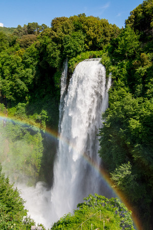 Marmore falls, Cascata delle Marmore, in Umbria, Italy. The tallest man-made waterfall in the world. Archivio Fotografico