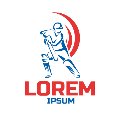 Cricket sport vector logo design template Illustration