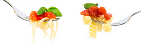 Banner of pasta on white background Stock Photo