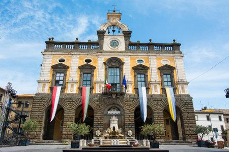 Nepi in Lazio, Italy. Town hall and fountain