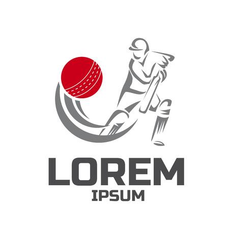 Modèle de conception de logo de vecteur de sport de cricket