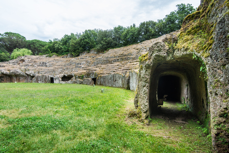 Sutri in Lazio, Italy. The rock-hewn amphitheatre of the Roman period