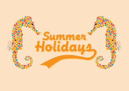 Vector summer background with seahorse and text Vectores