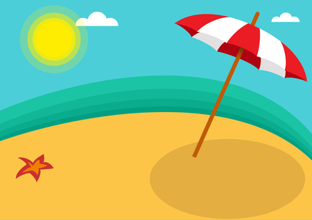 Vector abstract umbrella on the beach, summer on island background concept