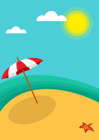 Vector abstract umbrella on the beach, summer vertical background concept