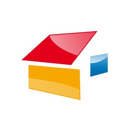 Vector logo house in abstract shape