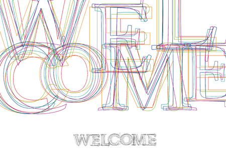 Vector word Welcome, made with colorful lines in confusion